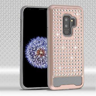 ASMYNA Rose Gold/Eisen grau Diamante FullStar Protector Cover für Galaxy S9 Plus