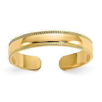 14 k Gelbgold poliert Milgrain Mühle Korn verstellbare Zeh Ring Schmuck Geschenke für Frauen - .7 Gramm