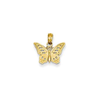 14 k gul guld tekstureret bagsiden Cut-Out sommerfugl vedhæng -.6 gram - foranstaltninger 15.5x14.8mm