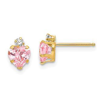 14k keltainen kulta kiillotettu 2mm rnd 5mm vaaleanpunainen CZ cubic zirkonia simuloitu diamond rakkaus sydän post korvakorut korut lahjat