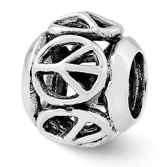 925 Sterling Sølv Refleksjoner Fredstegn Perle Sjarm Anheng Halskjede Smykker Gaver til kvinner