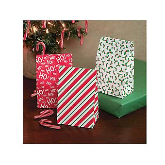 12 Small Christmas Design Paper Party or Treat Bags | Gift Wrap Supplies
