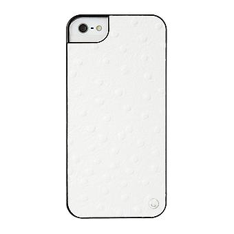 iPhone SE/5s/5 Case Exotic Ostrich Leather - Hard Shell White