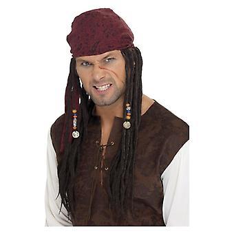 Άνδρες πειρατής περούκα & κασκόλ φανταχτερό φόρεμα αξεσουάρ