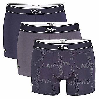 Lacoste Colours Cotton Stretch 3-Pack Boxer Trunk, Gris / Print / Marine, Grand