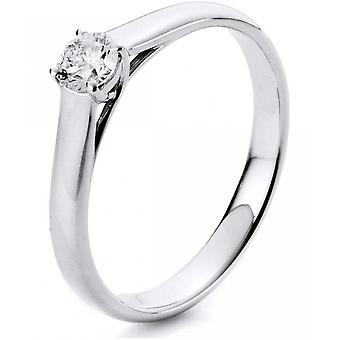 Diamond ring - 14K 585/- white gold - 0.25 ct. Size 52