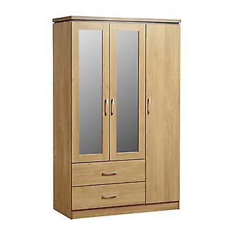 Charles 3 Door 2 Drawer Mirrored Wardrobe - Fendue d'effet chêne