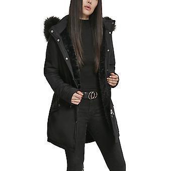Urban Classics doamnelor-faux blană de iarnă PARKA negru