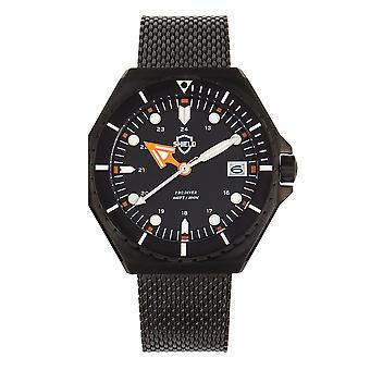 Bouclier Marius Bracelet Men-apos;s Diver Watch w/Date - Noir