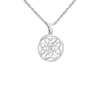 Celtic Holy Trinity Nonoti Circle a forma di collana a forma di ciondolo - Include un 20>quot; Silver Chain