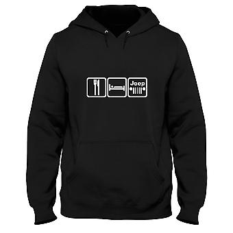 Black man hoodie fun1332 eat sleep play jeep