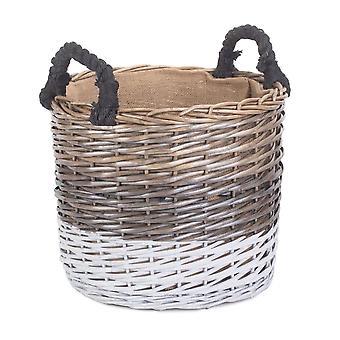 Small Round Triple Tone Chunky Wicker Lined Storage Basket