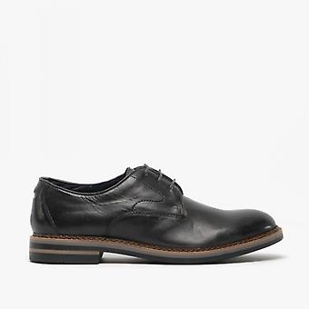 Base London Wayne Mens Leather Derby Shoes Burnished Grey