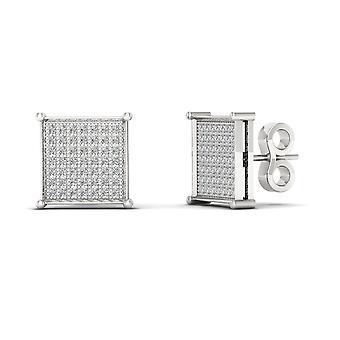 Boucles d'oreilles Igi certifiés 10k or blanc 0,33 ct brillants boucles d'oreilles de goujon de grappe de diamant