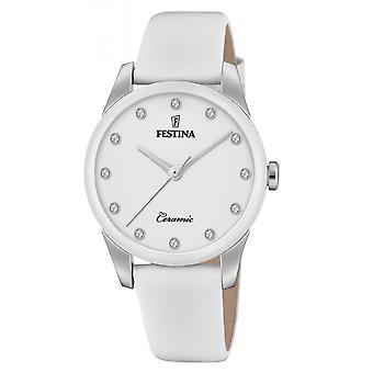 Reloj Festina F20473-1 - CERAMIC Bo tier Steel Silver Leather Bracelet White White Dial White Women