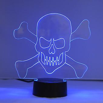 Skull and Crossbones Colour Changing LED Acrylic Light