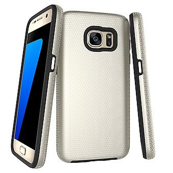 For Samsung Galaxy S7 Case, Gold Armor Slim Shockproof Protective Phone Cover