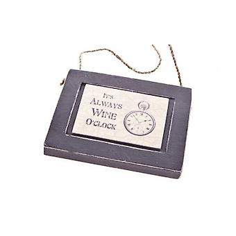 East of India Wine O Clock Wooden Plaque