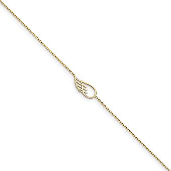 6.85mm 14k Wing Met 1inch Ext. Enkelband 10 Inch sieraden cadeaus voor vrouwen - 1.1 Gram