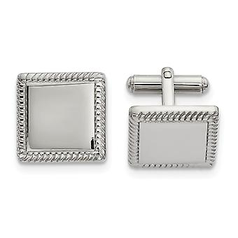 17.42mm Stainless Steel Polished Square Cuff Links Jewelry Gifts for Men