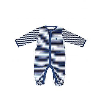 The Essential One Baby Boys Sleepsuit In Grey And Blue Stripe