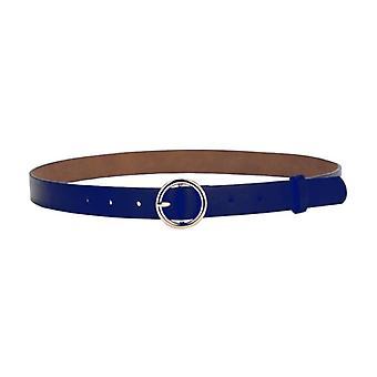Blue belt with round buckle