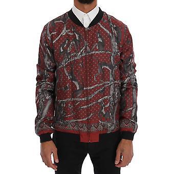 Dolce & Gabbana Bordeaux Silk Monkey Print Jacket