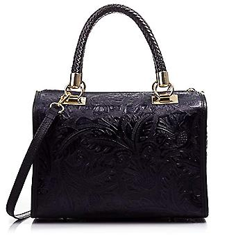 FIRENZE ARTEGIANI Real Leather Women's Bag. Genuine leather bag engraved arabesque. Shoulder bag. TOTE bag. Shoulder handle bag Made in ITALY. REAL ITALIAN PELLE 40x30x15 cm. Color: BLACK
