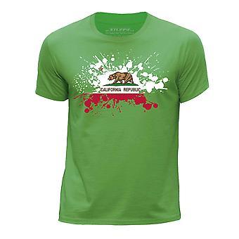 STUFF4 Chłopca rundy szyi T-shirty-Shirt / / California USA państwa bandery Splat zielony