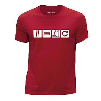 STUFF4 Boy's Round Neck T-Shirt/Eat Sleep Fish Repeat/Fishing/Red