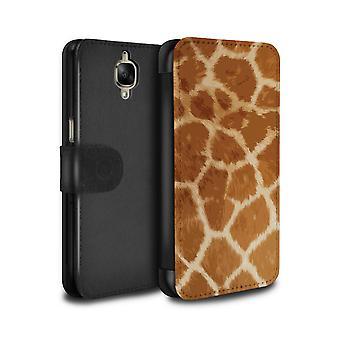STUFF4 PU Leather Wallet Flip Case/Cover for OnePlus 3/3T/Giraffe Fur Pattern/Fashion Animal Print Pattern