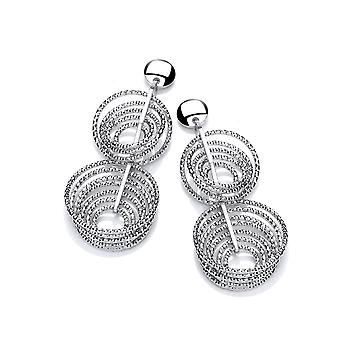 David Deyong Sterling Silver Diamond Cut Double Multi Circle Drop Earrings