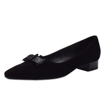 Peter Kaiser Leah Pointed Toe Low Heel Courts In Black Suede