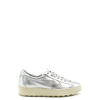 Philippe Modelo Ezbc019047 Mujer's Silver Leather Sneakers
