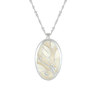 Eternal Collection Helena Ivory Enamel And Crystal Floral Silver Tone Pendant