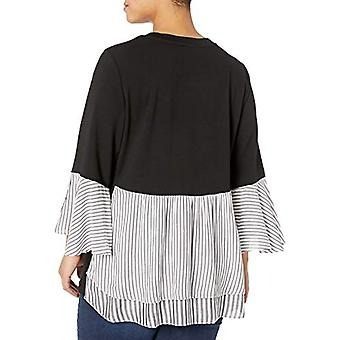 AGB Women's Plus Size 2-fer French Terry Top, Black/White,, Zwart/Wit, Maat 1X