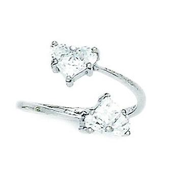 14k White Gold CZ Cubic Zirconia Simulated Diamond Top Adjustable Love Heart Body Jewelry Toe Ring Jewelry Gifts for Wom