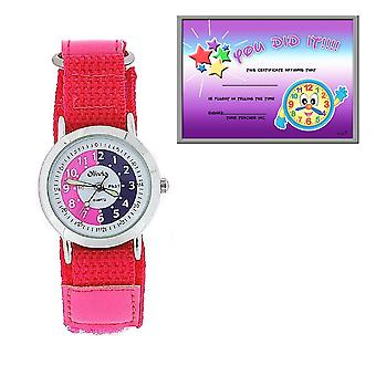 The Olivia Collection Time Teacher Pink Easy Fasten Watch + Telling Time Award