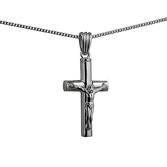 Silver 32x18x4mm handmade Memorial Crucifix Cross with a curb Chain 24 inches