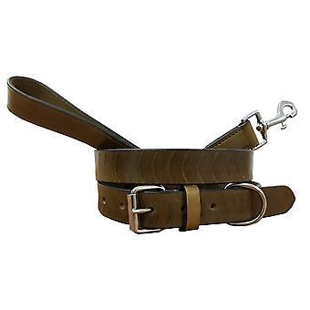 Bradley crompton véritable cuir correspondant collier de chien paire et ensemble de plomb bcdc4khakibrown