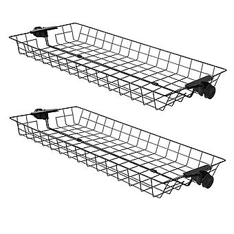 SoBuy FRG34-P02, Two Storage Baskets for Adjustable Wardrobe Organizer Telescopic Clothes Storage Shelving Series