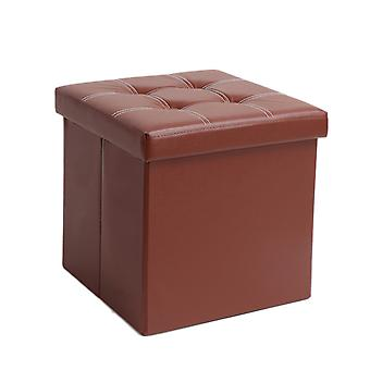 Faux Leather Cube Storage Stool, Padded Foot Stool for Living Room, Bedroom and Office