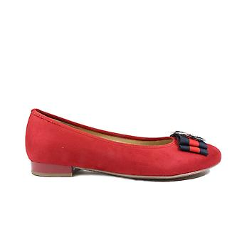 Ara Pisa 63361-78 Red Suede Leather Womens Slip On Ballerina Pump Shoes