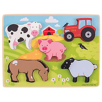 Bigjigs Toys Chunky Wooden Lift Out Farm Jigsaw Puzzle Educational Animals