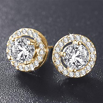 18K gold plated enchanted halo 3.32 tcw round cut simulated diamond cz stud earrings for woman