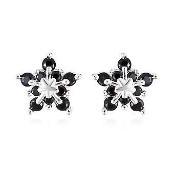 Boucles d'oreilles monchic pour femmes Spinel noir en argent sterling, 0.75 Ct