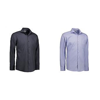 ID Mens Dobby Royal Oxford Shirt Long Sleeve Modern Fit