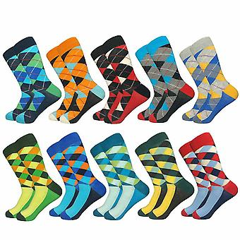 Patterned Men's Socks, Checkerboard Pattern with Dash - 10 Pairs