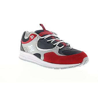 DC Kalis Lite  Mens Gray Red Leather Lace Up Athletic Skate Shoes
