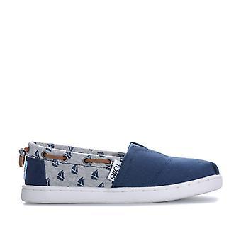 Boy's Toms Junior Sailboat Espadrille Shoes in Blue